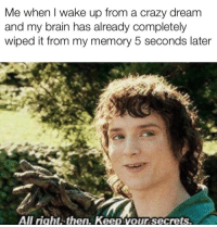 Crazy, Brain, and Memory: Me when I wake up from a crazy dreanm  and my brain has already completely  wiped it from my memory 5 seconds later  All right.then. Keep vour secrets.