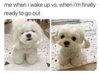 wake up: me when i wake up vs. when i'm finally  ready to go out