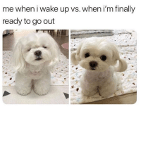 Memes, Tits, and Heart: me when i wake up vs. when i'm finally  ready to go out Mah heart 💓 Follow my sugar tits @northwitch69 @northwitch69 @northwitch69 @northwitch69