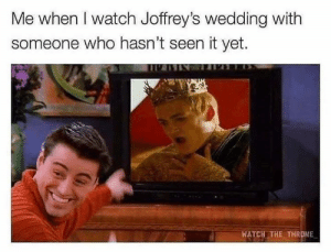 Memes, Watch, and Wedding: Me when I watch Joffrey's wedding with  someone who hasn't seen it yet.  WATCH THE THRONE