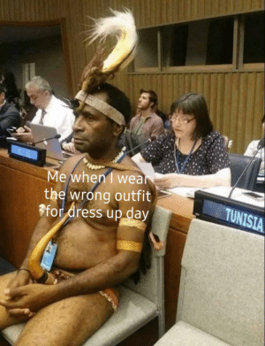 Meme, Dress, and Dank Memes: Me when I wea  the wrong outfit  ffor dress up day  TUNISIA On a non meme topic this guy is pretty baller
