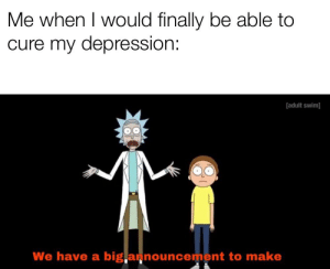 Bad, Reddit, and Adult Swim: Me when I would finally be able to  cure my depression:  adult swim)]  We have a big,a nouncement to make Depression is bad for my health .