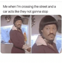 Ass, Memes, and 🤖: Me when I'm crossing the street and a  car acts like they not gonna stop 😒😒😒😒😒 I know you see my bright ass 😐😐😐 TF shepost♻♻