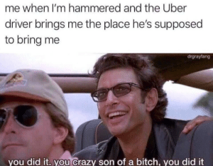 hammered: me when I'm hammered and the Uber  driver brings me the place he's supposed  to bring me  drgrayfang  you did it. you Crazy son of a bitch, you did it