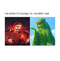 Hungry, Memes, and 🤖: me when i'm hungry vs. me after i eat Accurate! 😂