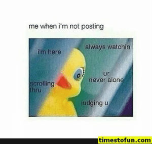 Being Alone, Funny, and Lol: me when i'm not posting  always watchin  i'm here  ur  never alone  scrolling  thru  judging u  timestofun.com funny memes 15 pictures - #funnymemes #funnypictures #humor #funnytexts #funnyquotes #funnyanimals #funny #lol #haha #memes #entertainment #timestofun.com