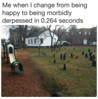 Happy, Change, and  Seconds: Me when l change from being  happy to being morbidly  derpessed in 0.264 seconds