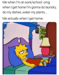 Laundry, Omg, and School: Me when l'm at work/school: omg  whenlget home l'm gonna do laundry,  do my dishes, water my plants...  Me actually when I get home:  @1LofaRide  FE