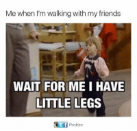 Dank, Friends, and 🤖: Me when l'm walking with my friends  WAIT FOR ME I HAVE  LITTLE LEGS  Postize