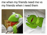 Friends, Funny, and Lol: me when my friends need me vs  my friends when i need them  62010 True lol