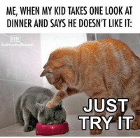 Dank, 🤖, and Bpm: ME, WHEN MY KID TAKES ONE LOOK AT  DINNER AND SAYS HE DOESN'T LIKE IT.  BPM  Bad ParentingMoments  JUST  TRY IT