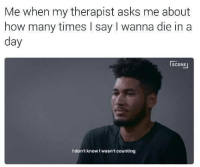 How Many Times, Asks, and How: Me when my therapist asks me about  how many times I say I wanna die in a  day  SCENE  I don't know I wasn't counting