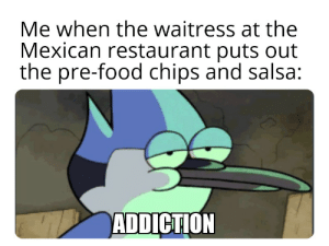 Must...not.... Eat chips... must eat... main meal! Hnng! Crap.: Me when the waitress at the  Mexican restaurant puts out  the pre-food chips and salsa:  ADDICTION Must...not.... Eat chips... must eat... main meal! Hnng! Crap.