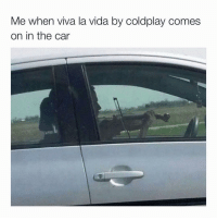 Coldplay, Funny, and The Cars: Me when viva la vida by coldplay comes  on in the car Comment ur Favorite Emoji