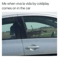 Coldplay, Car, and The Cars: Me when viva la vida by coldplay  comes on in the car 7TH GRADE HAHAHHA