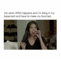 Apps, Girl Memes, and App: me when WW3 happens and i'm living in my  basement and have to make my food last  KOUR This makes me laugh with the caption (Via: Kourtney Karashian Official App) Follow @bitchy.tweets for more videos 😂🙌🏼