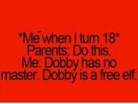 Dobby Has No Master: Me whenltum 18*  Parents Do this  Me: Dobby has no  master. Dobbý is a free elf