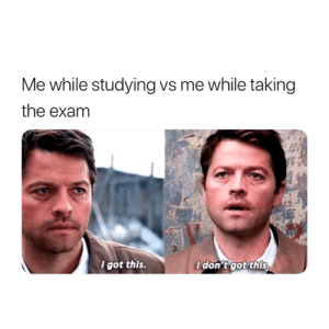 Got, This, and I Got This: Me while studying vs me while taking  the exam  I got this  don't got this