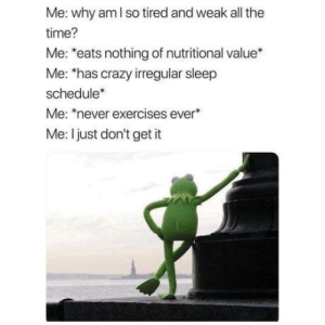 omg-humor:Guess I'll die.: Me: why am I so tired and weak all the  time?  Me: *eats nothing of nutritional value*  Me: 'has crazy irregular sleep  schedule*  Me: never exercises ever  Me: I just don't get it omg-humor:Guess I'll die.