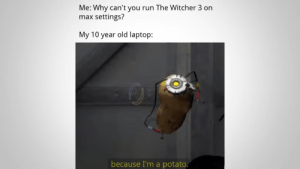 Meirl by SnapplyPie MORE MEMES: Me: Why can't you run The Witcher 3 on  settings?  max  My 10 year old laptop:  because I'm a potato. Meirl by SnapplyPie MORE MEMES
