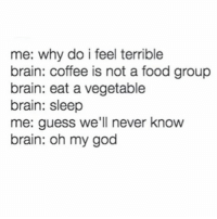 Food, God, and Memes: me: why do i feel terrible  brain: coffee is not a food group  brain: eat a vegetable  brain: sleep  me: guess we'll never know  brain: oh my god guess we'll never know!!!! (@romperdotcom)