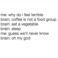 Brains, Food, and God: me: why do i feel terrible  brain: coffee is not a food group  brain: eat a vegetable  brain: sleep  me: guess we'll never know  brain: oh my god I guess we'll never know @browneyes.thickthighs