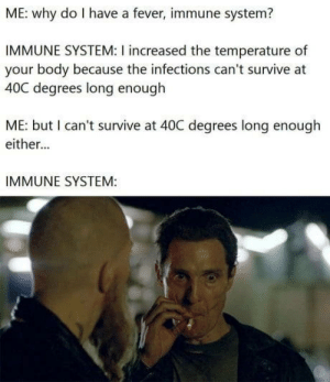 For those who need to know, 40C is 104F: ME: why do I have a fever, immune system?  IMMUNE SYSTEM: I increased the temperature of  your body because the infections can't survive at  40C degrees long enough  ME: but I can't survive at 40C degrees long enough  either...  IMMUNE SYSTEM: For those who need to know, 40C is 104F