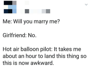 One hour of awkward silence.: Me: Will you marry me?  Girlfriend: No  Hot air balloon pilot: It takes me  about an hour to land this thing so  this is now awkward. One hour of awkward silence.