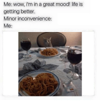 Life, Mood, and Wow: Me: wow, i'm in a great mood! life is  getting better.  Minor inconvenience:  Me: https://t.co/KOqBBLiWUs