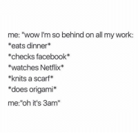 """Facebook, Netflix, and Tumblr: me: """"wow I'm so behind on all my work:  *eats dinner*  *checks facebook*  *watches Netflix*  *knits a scarf*  *does origami*  me:""""oh it's 3am'"""" @studentlifeproblems"""
