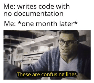 Did you document your code: well no but actually no.: Me: writes code with  no documentation  Me: *one month later*  These are confusing lines Did you document your code: well no but actually no.