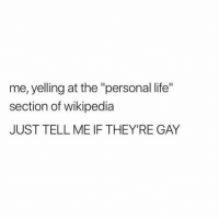 """Life, Twitter, and Wikipedia: me, yelling at the """"personal life""""  section of wikipedia  JUST TELL ME IF THEY'RE GAY THE PEOPLE NEED TO KNOW (twitter 