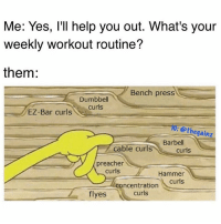 Bro routine: Me: Yes, 'll help you out. What's your  weekly workout routine?  them:  Bench press  Dumbbell  EZ-Bar curls  Barbell  cable curls  curls  preacher  curls  Hammer  concentration  flyes  curls Bro routine