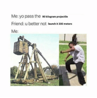 trebuchet for president 2016: Me: yo pass the 90 kilogram projectile  Friend: u better not launch it 300 meters  Me: trebuchet for president 2016