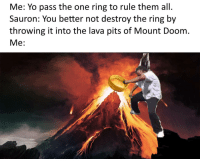 Yo, The Ring, and Doom: Me: Yo pass the one ring to rule them all.  Sauron: You better not destroy the ring by  throwing it into the lava pits of Mount Doom  Me: <p>🔥🔥💍🔥🔥</p>