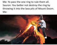 Memes, Yo, and The Ring: Me: Yo pass the one ring to rule them all.  Sauron: You better not destroy the ring by  throwing it into the lava pits of Mount Doom  Me