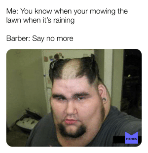 Barber, Memes, and Reddit: Me: You know when your mowing the  lawn when it's raining  Barber: Say no more  MEMES Barber back at it again 💈
