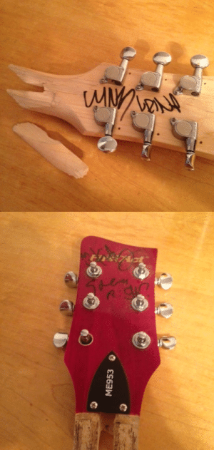New York, Tumblr, and Blog: ME953 zoidmachine:  Pieces of a smashed guitar signed by all four members of MINDLESS SELF INDULGENCE from their show at Irving Plaza in New York on December 14th, 2003.( Source )