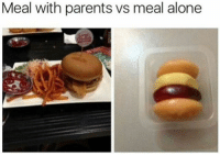 50 Funny Food Memes That'll Keep You Laughing For Hours: Meal with parents vs meal alone 50 Funny Food Memes That'll Keep You Laughing For Hours