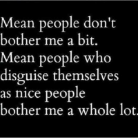 Dont Bother Me: Mean people don't  bother me a bit.  Mean people who  disguise themselves  as nice people  bother me a whole lot.
