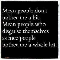 Amen ~BG~: Mean people don't  bother me a bit.  Mean people who  disguise themselves  as nice people  bother me a whole lot Amen ~BG~