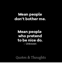 Dont Bother Me: Mean people  don't bother me.  Mean people  who pretend  to be nice do  Unknown  Quotes & Thoughts