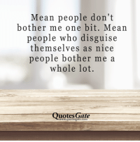 Dont Bother Me: Mean people don't  bother me one bit. Mean  people who disguise  themselves as nice  people bother me a  whole lot.  uotes Gate  www.quotesgate.com