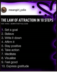 Memes, Express, and Goal: meangirl yslie  THE LAW OF ATTRACTION IN 10 STEPS  VEX KING I BONVITASTYLE.COM  1. Set a goal  2. Believe  3. Write it down  4. Affirm it  5. Stay positive  6. Take action  7. Meditate  8. Visualise  9. Feel good  10. Express gratitude LawOfAttraction In 10 Steps. Rp @meangirl_yslie 4biddenknowledge