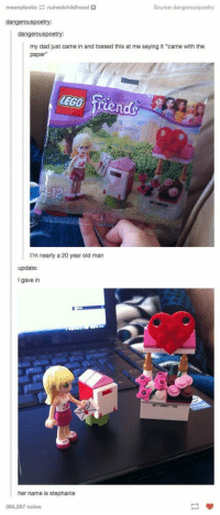 """Dad, Lego, and Lmao: meanplasticruinedchildhood  Source: dangerouspoetry  dangerouspoetry:  dangerouspoetry:  my dad just came in and tossed this at me saying it """"came with the  paper""""  LEGO Trends  I'm nearly a 20 year old man  update:  I gave in  刨!  her name is stephanie  365,287 notes lmao https://t.co/dEKJnU3fdh"""