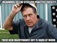 Work, Steelers, and New: MEANWHILE AT THE STEELERS PRACTICE FACILITY  THEIR NEW MAINTENANCE GUY IS HARD AT WORK BUSTED! https://t.co/Djay4JTxPn