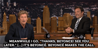 """Beyonce, Dad, and Target: MEANWHILE I GO, """"THANKS, BEYONCE! SEE YOU  LATER."""" [...] IT'S BEYONCE. BEYONCE MAKES THE CALL. <h2><a href=""""http://www.nbc.com/the-tonight-show/video/denis-leary-lost-cool-dad-points-introducing-his-kid-to-beyonce/3073936"""" target=""""_blank"""">If Beyoncé accidentally calls you the wrong name, you go with it</a>.</h2>"""