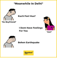 Memes, Earthquake, and 🤖: *Meanwhile In Delhi  Kuch Feel Hua?  Ex Boyfriend  I Dont Have Feelings  For You  Behen Earthquake  Bewakoof  .com  *Girl When she thinks you're still not over her :p Credits: Pakchikpak Raja Babu (@HaramiParindey)  Shop now : http://bwkf.shop/View-Collection