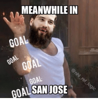 Hockey, Memes, and 🤖: MEANWHILE IN  GOAL  GOAL  GOAL  GOAL SANJO  JOSE Brent Burns went from turnover machine into the best defenseman in the NHL. Who do you think is the best? nhl hockey brentburns sjsharks