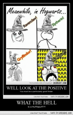 What the hell, is a hufflepuff!?!http://omg-humor.tumblr.com: Meanwhile, in Hogwarts.  Ravenclaw!  Slytherin!  |FFFFFFF,  FFFF  FFF  FFF  FEE  FFF  FUUU  OUUL  Gryffindor!  UUL  You're probably better off not going to LOLBRARY.COM  WELL LOOK AT THE POSITIVE  You must be a particularly good finder.  Like this? You'll hate  TASTE OFAWESOME.COM  WHAT THE HELL  Is a Hufflepuff!?!  Like this? You'll hate  TASTE OF AWESOME.COM What the hell, is a hufflepuff!?!http://omg-humor.tumblr.com